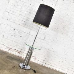 George Kovacs Modern chrome cylinder floor lamp with attached glass side table - 1900196