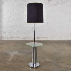 George Kovacs Modern chrome cylinder floor lamp with attached glass side table - 1900220