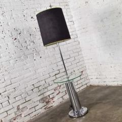 George Kovacs Modern chrome cylinder floor lamp with attached glass side table - 1900300