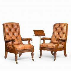 George Minter A pair of William IV adjustable mahogany library armchairs by George Minter - 762300