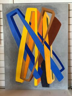 George Mullen Orange and Blue Abstract on Grey by George Mullen - 330201