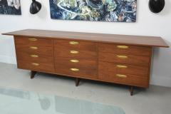 George Nakashima American Modern Walnut and Brass 12 Door Chest - 565463