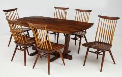 George Nakashima Conoid Dining Table Accompanied by Set of Six New Chairs - 1276908