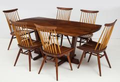 George Nakashima Conoid Dining Table Accompanied by Set of Six New Chairs - 1276909