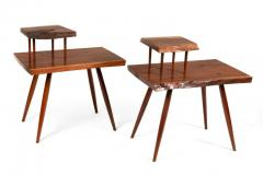 George Nakashima George Nakashima Black Walnut Free Edge Two Tier End Tables USA 1950s - 1030250