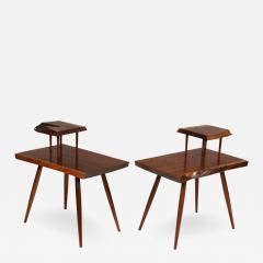 George Nakashima George Nakashima Black Walnut Free Edge Two Tier End Tables USA 1950s - 1030494