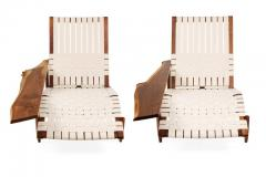 George Nakashima George Nakashima Black Walnut Long Chairs with Free Edge Armrest - 1194067