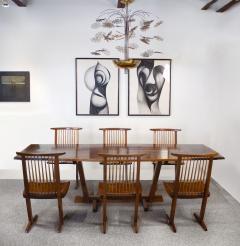 George Nakashima George Nakashima Conoid Dining Set in Sap Walnut with Free Form Edges 6 Chairs - 1930692