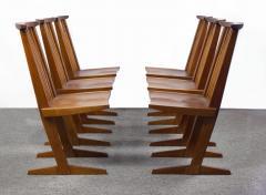 George Nakashima George Nakashima Conoid Dining Set in Sap Walnut with Free Form Edges 6 Chairs - 1930694