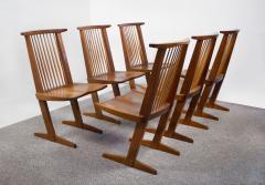 George Nakashima George Nakashima Conoid Dining Set in Sap Walnut with Free Form Edges 6 Chairs - 1930696