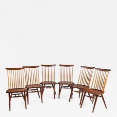 George Nakashima George Nakashima Set of Six Walnut and Hickory New Chairs  - 1234550