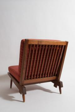 George Nakashima Chairs george nakashima - pair of george nakashima walnut lounge chairs