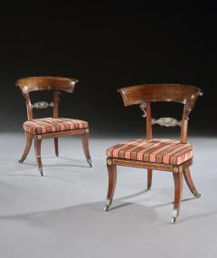 George Oakley Rare Pair of Regency Rosewood Klismos Library Chairs - 1137600