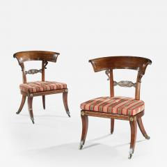 George Oakley Rare Pair of Regency Rosewood Klismos Library Chairs - 1138208