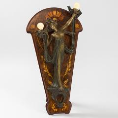 Georges Flamand Bronze Nude lighted Sconce on Marquetry Easel - 123944