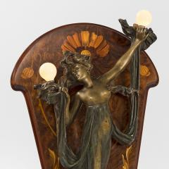 Georges Flamand Bronze Nude lighted Sconce on Marquetry Easel - 123945