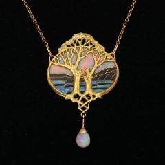 Georges Fouquet Art Nouveau Gold and Opal Pendant by Georges Fouquet - 1222554