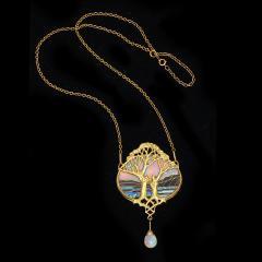 Georges Fouquet Art Nouveau Gold and Opal Pendant by Georges Fouquet - 1222561