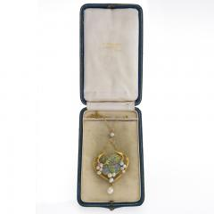 Georges Fouquet Georges Fouquet French Art Nouveau Opal Pearl Gold and Plique Jour Enamel - 293784