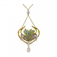 Georges Fouquet Georges Fouquet French Art Nouveau Opal Pearl Gold and Plique Jour Enamel - 293785