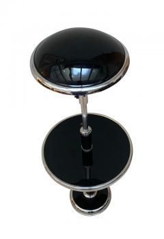 Georges Halais Art Deco Floor Lamp with Side Table Chromed and Black Lacquer France circa 1930 - 1488099
