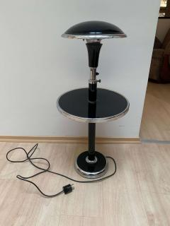 Georges Halais Art Deco Floor Lamp with Side Table Chromed and Black Lacquer France circa 1930 - 1488106