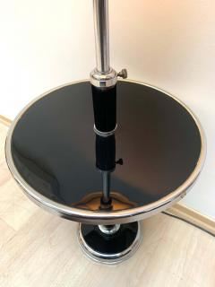 Georges Halais Art Deco Floor Lamp with Side Table Chromed and Black Lacquer France circa 1930 - 1488115