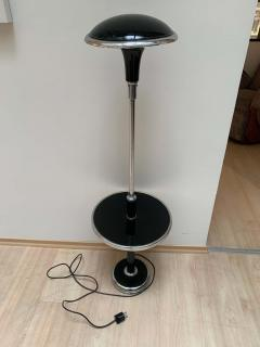 Georges Halais Art Deco Floor Lamp with Side Table Chromed and Black Lacquer France circa 1930 - 1488123