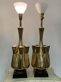 Georges Jouve MONUMENTAL PAIR OF GOLD GLAZED CERAMIC LAMPS IN THE MANNER OF GEORGES JOUVE - 1032380