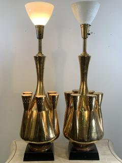 Georges Jouve MONUMENTAL PAIR OF GOLD GLAZED CERAMIC LAMPS IN THE MANNER OF GEORGES JOUVE - 1032381