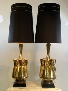 Georges Jouve MONUMENTAL PAIR OF GOLD GLAZED CERAMIC LAMPS IN THE MANNER OF GEORGES JOUVE - 1032383