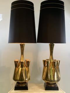 Georges Jouve MONUMENTAL PAIR OF GOLD GLAZED CERAMIC LAMPS IN THE MANNER OF GEORGES JOUVE - 1032385