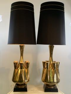 Georges Jouve MONUMENTAL PAIR OF GOLD GLAZED CERAMIC LAMPS IN THE MANNER OF GEORGES JOUVE - 1032386