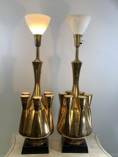 Georges Jouve MONUMENTAL PAIR OF GOLD GLAZED CERAMIC LAMPS IN THE MANNER OF GEORGES JOUVE - 1032387