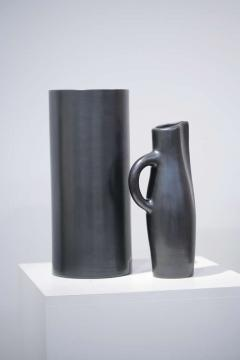 Georges Jouve Vase Cylindre and Pichet Noir Ceramic Vase andPpitcher - 528432