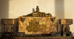 Georges Lavroff Art Deco Clock Bronze Sculpture Voluptuous Reclining Nude Fawn Pipes of Pan - 1166348