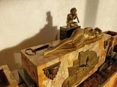 Georges Lavroff Art Deco Clock Bronze Sculpture Voluptuous Reclining Nude Fawn Pipes of Pan - 1166350