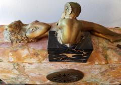 Georges Lavroff Art Deco Clock Bronze Sculpture Voluptuous Reclining Nude Fawn Pipes of Pan - 1166356