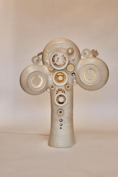 Georges Pelletier Glazed Ceramic Totem Table Lamp by French Artist Georges Pelletier - 1173836