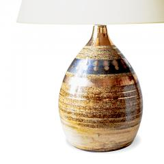 Georges Pelletier Table lamp with sandy glazing and gilded stripes by Georges Pelletier - 1137751