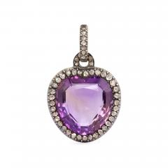 Georgian Amethyst and Rose Diamond Heart Pendant - 708023