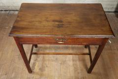 Georgian Oak Side Table with H Stretcher - 2007052