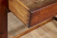 Georgian Oak Side Table with H Stretcher - 2007053