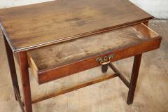 Georgian Oak Side Table with H Stretcher - 2007054