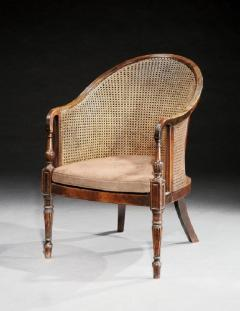 Georgian Period Mahogany Library Tub Bergere Desk Chair - 1145552