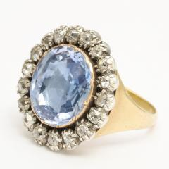 Georgian Sapphire and Old Mine Diamond Cluster Ring - 424979