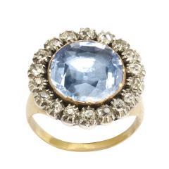 Georgian Sapphire and Old Mine Diamond Cluster Ring - 424980