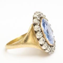 Georgian Sapphire and Old Mine Diamond Cluster Ring - 424981