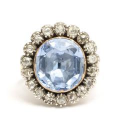 Georgian Sapphire and Old Mine Diamond Cluster Ring - 424982