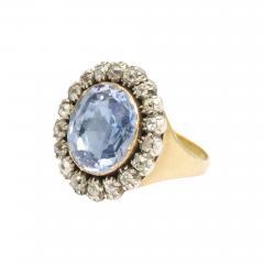 Georgian Sapphire and Old Mine Diamond Cluster Ring - 425500